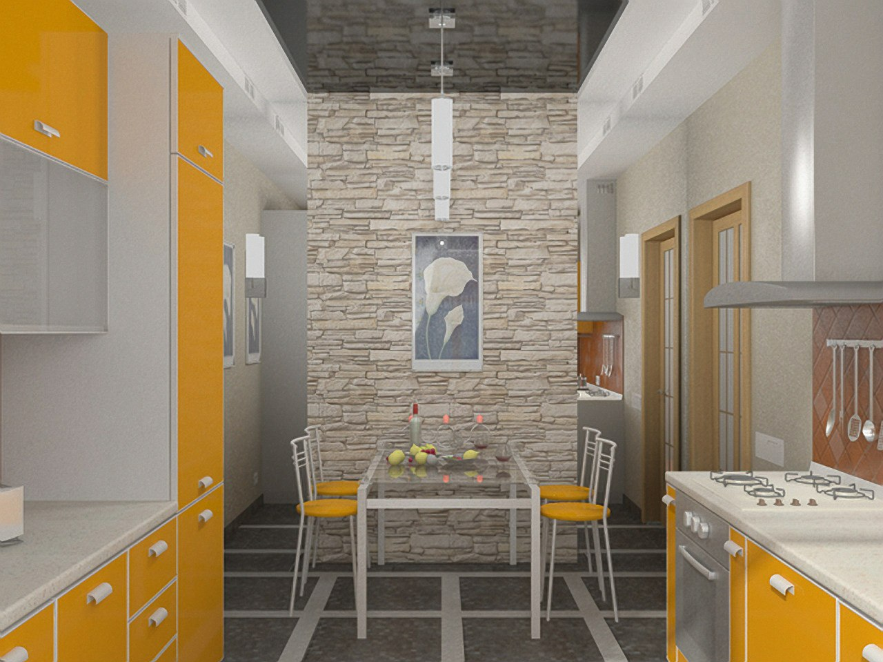 Дизайн кухни фото камнем