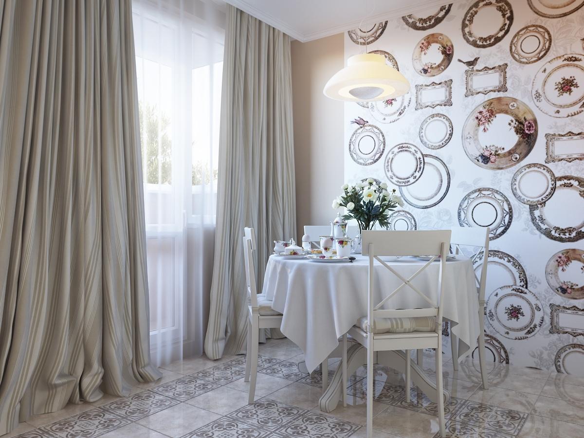 Дизайн стен кухни обоями фото