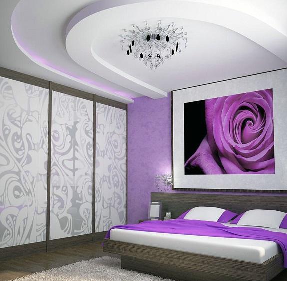 Фиолетовая спальня дизайн фото