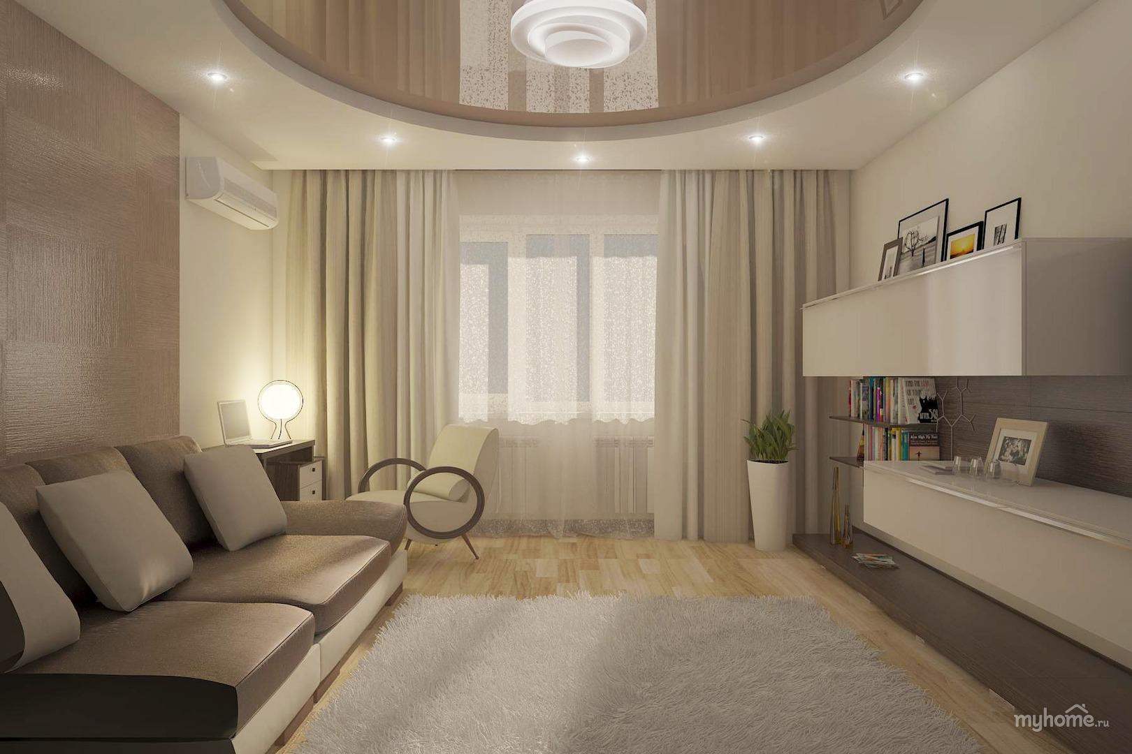 Дизайн гостиной в бело-серых тонах