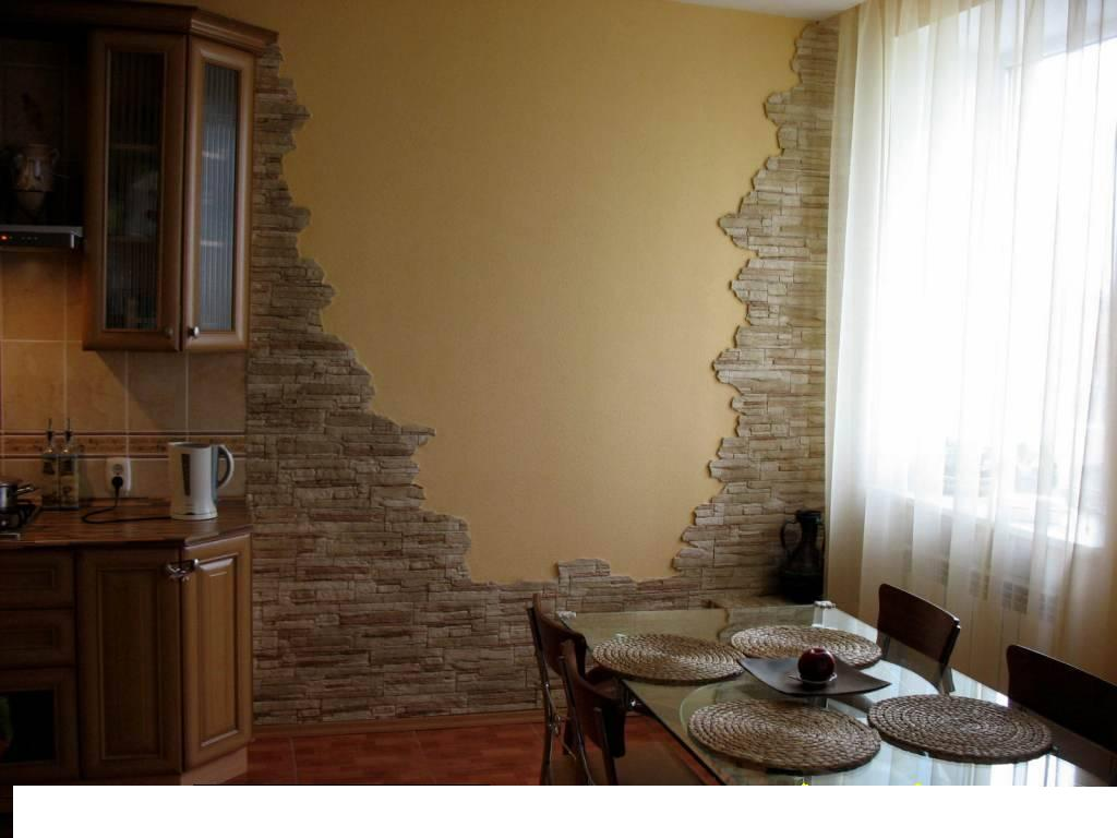 Отделка кухни декоративным камнем 40 фото интерьеров