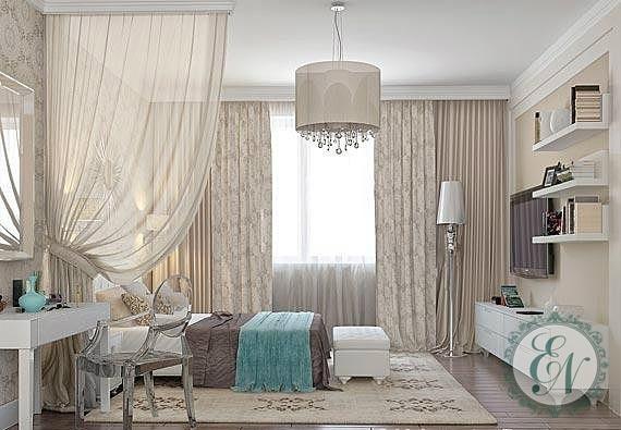 Бежевый дизайн спальни