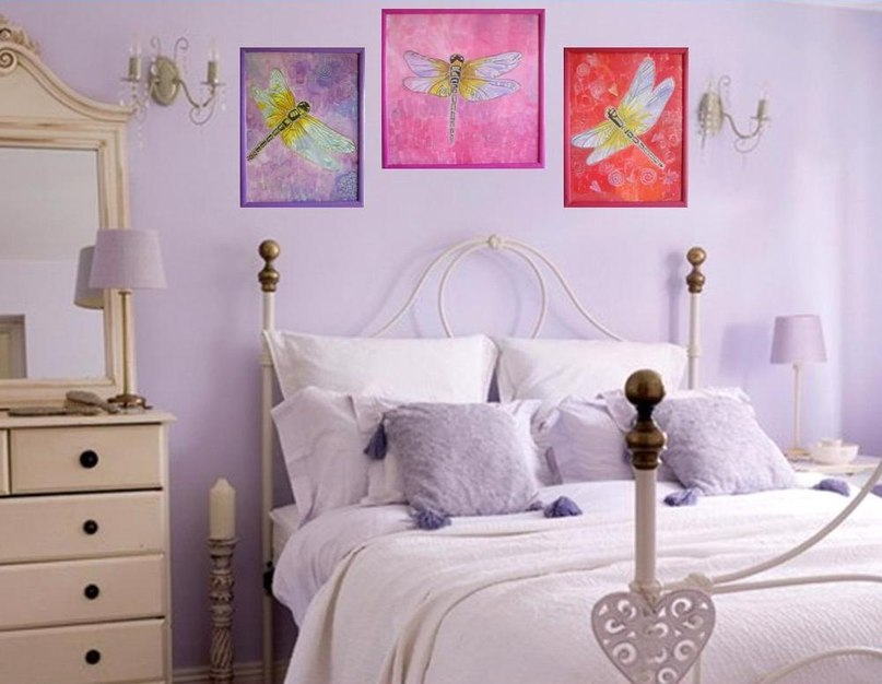 Дизайн спальни в сиреневом цвете фото 2016-2017