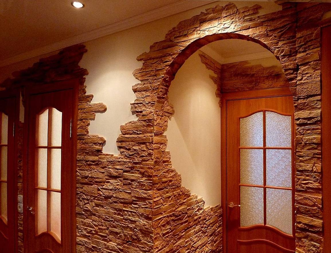 Отделка стен декоративным камнем в квартире своими руками