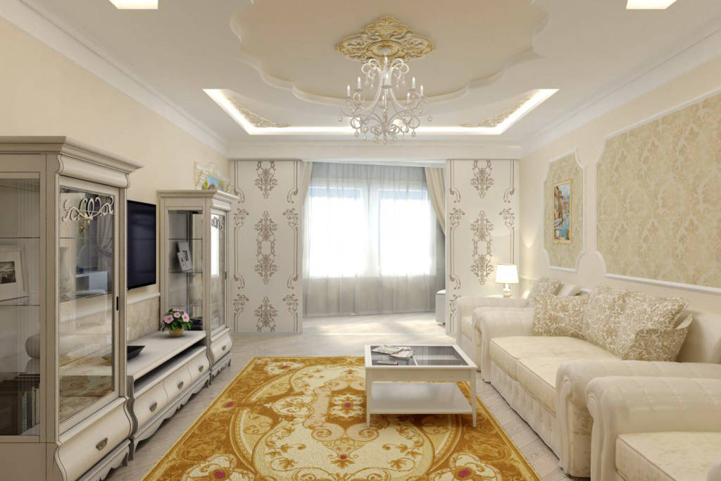 Дизайн маленького зала в классическом стиле