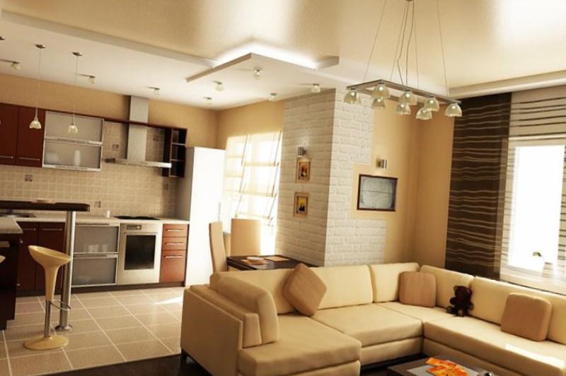 Интерьер кухня гостиная в квартире фото