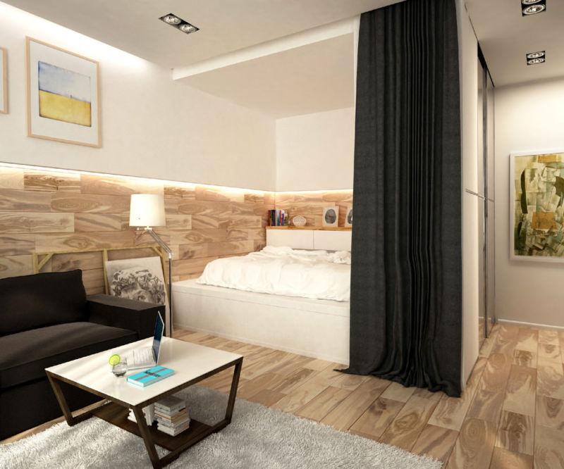 Дизайн однокомнатной квартиры 35 кв м фото интерьера