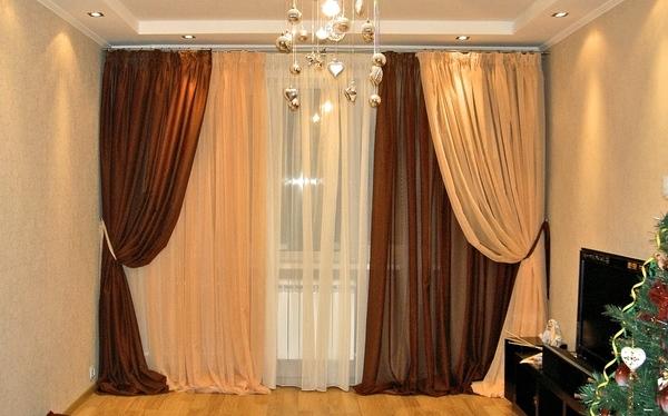двойные шторы в гостиную фото