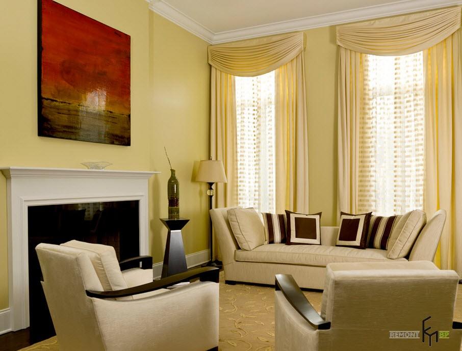 Дизайн зала обои шторы интерьер мебели только фото 17 м