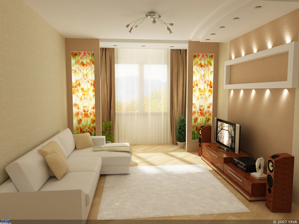 Дизайн гостиной прямоугольной формы с балконом