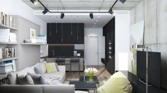 Интерьер однокомнатной квартиры 30 кв м в современном стилефото