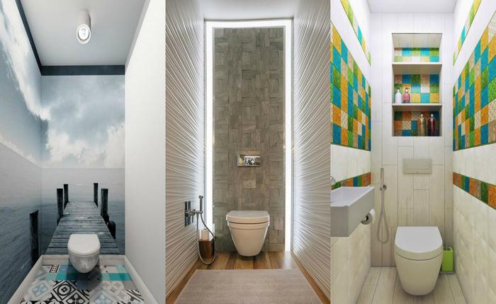 Стильный дизайн маленькой туалетной комнаты