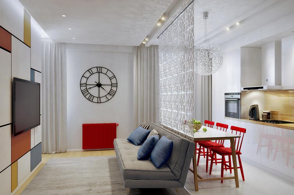 Дизайн интерьера однокомнатной квартиры 50 кв.м фото