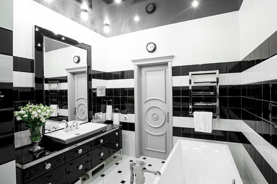 Дизайн ванной комнаты черно белой