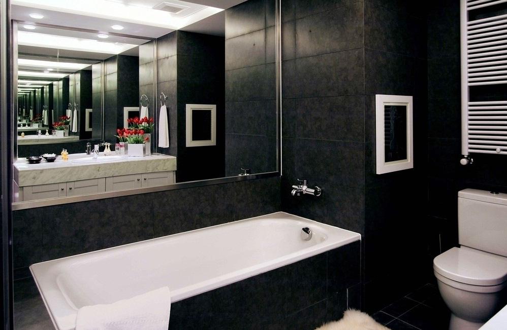 Черно-белый дизайн ванная дизайн