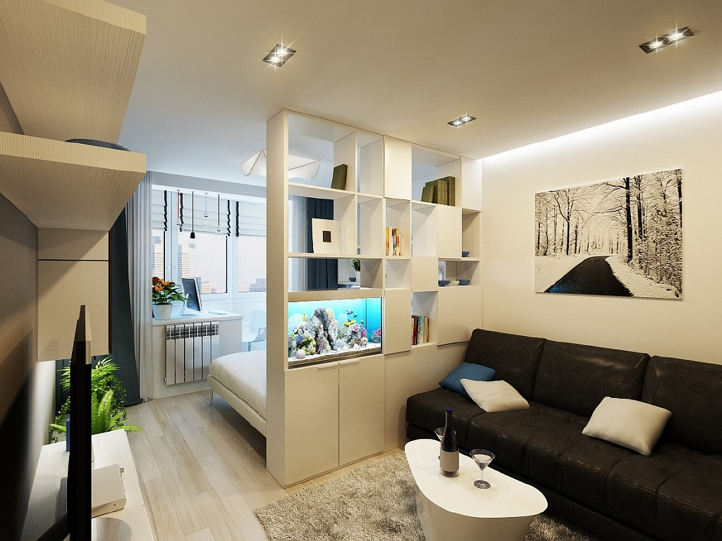 Интерьер квартиры студии 28 кв.м спальня гостиная фото