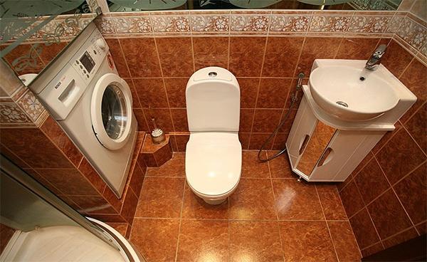 Дизайн ванной комнаты 3.5 кв.м с туалетом и стиральной машиной