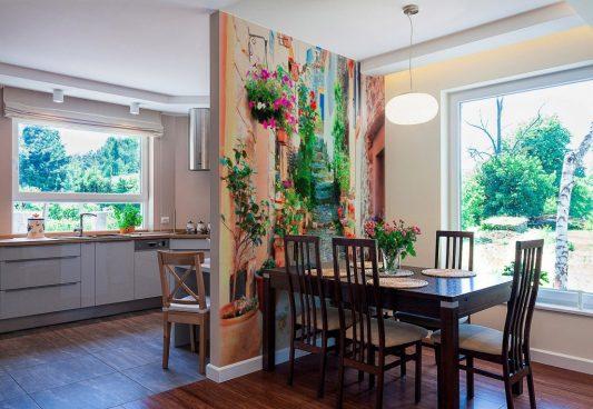 Дизайн кухни с фотообоями на стене