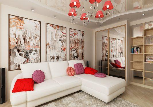 Как обставить зал 20 кв м в квартире с угловым диваном фото