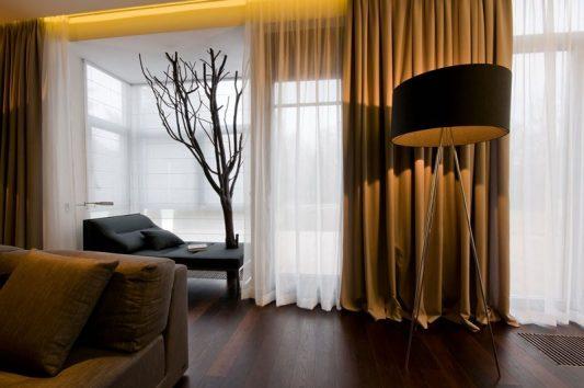 Интерьер штор в зале в современном стиле фото