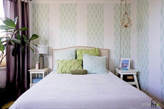 Дизайн обоев для спальни комбинированные 2 видов фото