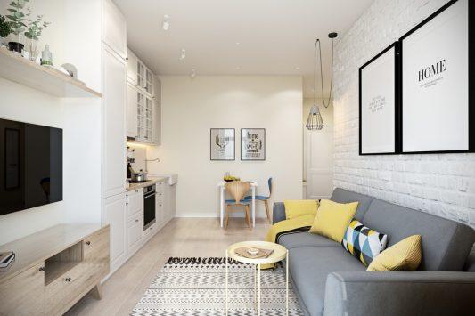 дизайн гостинной комнаты 16 кв м фото