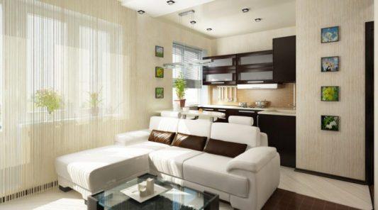 Ремонт в однокомнатной квартире 40 кв м фото интерьера