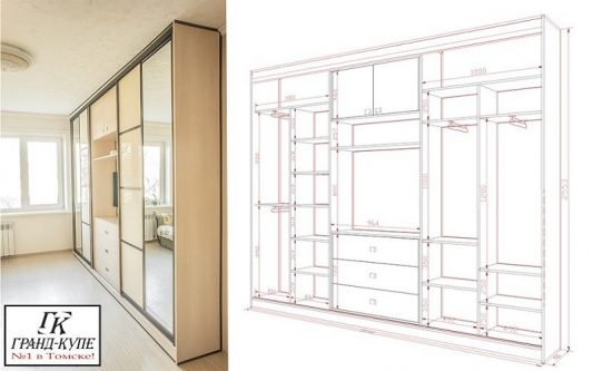 Встроенные шкафы купе дизайн внутри с размерами в прихожую: фото