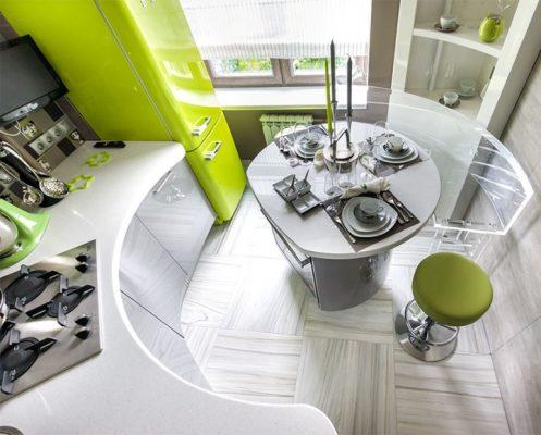 Маленькая кухня дизайн фото 7 кв м с холодильником