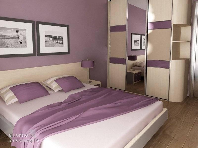 дизайн интерьера спальни в фиолетовых тонах