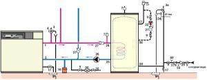 Схема отопления с установленным предохранительным клапаном