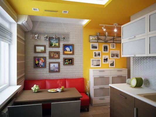 кухня 14 кв м дизайн фото с диваном