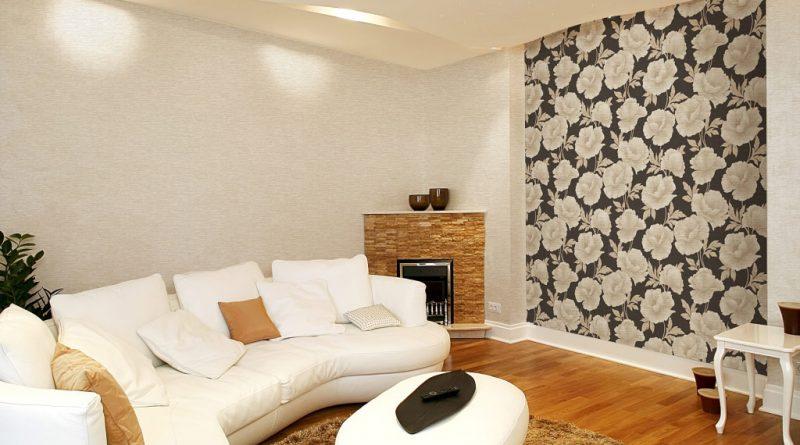 дизайн обоев для зала комбинированные 2 видов фото
