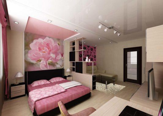 Дизайн однокомнатной квартиры 30 кв м фото разделить на две зоны