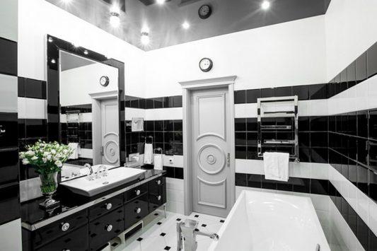 Черно белая ванная комната: дизайн фото
