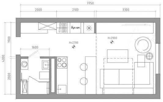 Профессиональный дизайн квартиры студии 30 кв.м