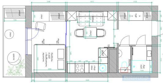 Дизайн-проект квартиры-студии 25 кв.м. со спальней