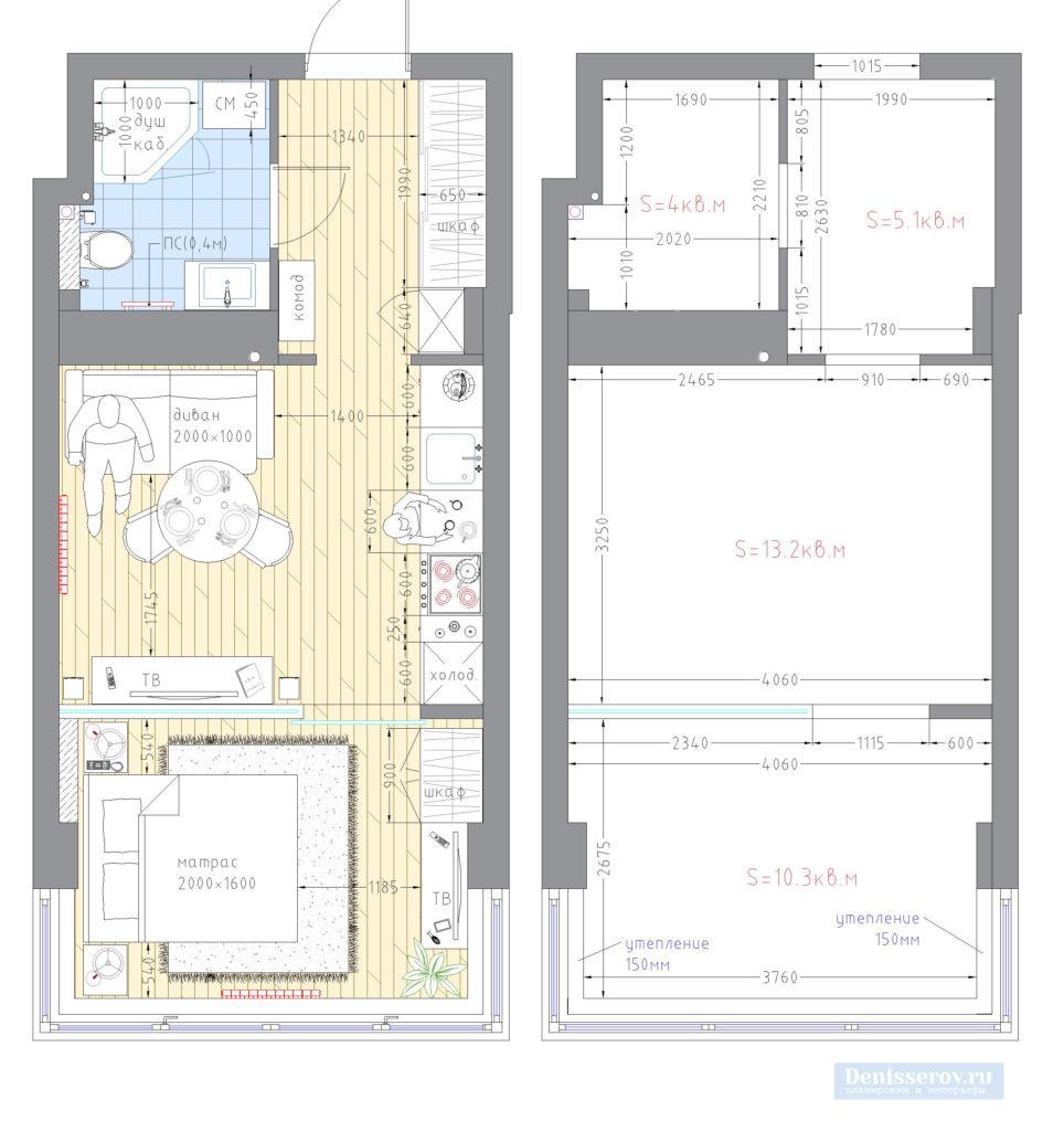 Планировка квартиры-студии 30 кв.м.