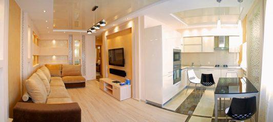 хрущевка 2 комнатная дизайн фото кухня и зал