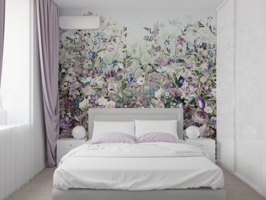 Обои с цветами в интерьере спальни фото